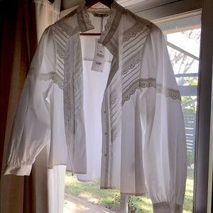 Zara Size L White Cotton Shirt w Broderie Anglaise
